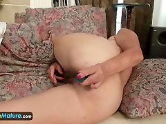 Horny and sexy mature Lori slowly takes off her cothes and masturbates