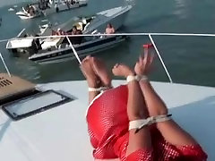 JJ Plush tied up in licking pussy leah goti on a boat