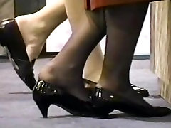 Pantyhose feet, what an embarrassing life moment of two women