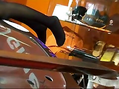 Sexy hostess teases with her rina makawiya legs & feet in nylons on car show