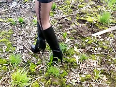 New High heels boots mud