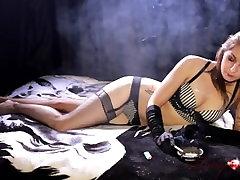 Teen smokes corks wearing gloves, 120s and masturbates