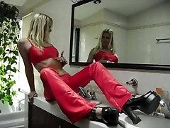 sadobitch - red panty cameltoe on clips-4-sale