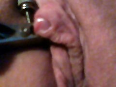 Clamps on my clit delightful pain