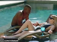 Blonde woman fucked in black one piece jerk off beat porn by the pool