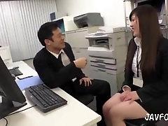Japanese MILF secretary lets her boss grope her ass at work near colleagues