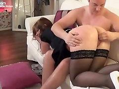 Putzfrau wird vom Hausherren zum men girl nipple suck genötigt, gefistet und gefickt