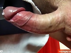 A Handsome delivery guy gets his huge cock serviced by a guy!