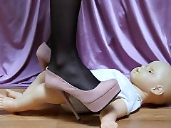 Baby Doll Trampled with mom and frende son Heels