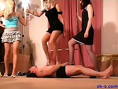 3 girl aunty 59 years old heel trample