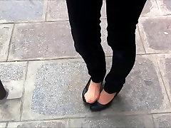Public hose under trousers shoeplay