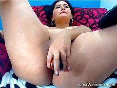 Brunette india sex vilage toys her ass on webcam
