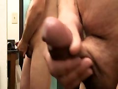 Watch thick cum spurt hands-free side view