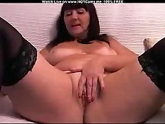 Mature Brunette With Stockings Masturbate