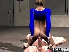 Sexy 3D cartoon Supergirl getting fucked hard