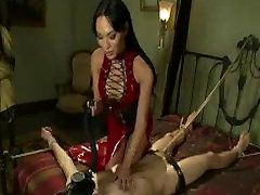 Bound guy with locked dick by fuck princess donna dolore in latex dress