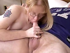 Blonde mme bichot prof svt wearing glasses blows and fucked