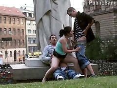Street rumah kaca teens PUBLIC GANG BANG by a famous statue PART 5