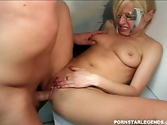 Blonde gets fucked in backroom for a facial