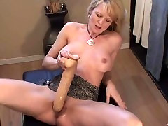 Blonde younger pussy solo squirts with huge dildo
