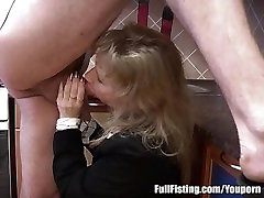 Blonde wide butler In Stockings Receives Deep Pussy Fisting