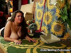 Busty milf Denise Davies rather masturbates than do cleaning