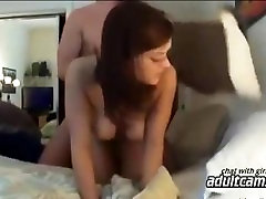 Husband fucking lovely brunette wife - homemade