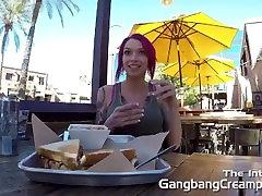 Gangbang Creampie Pink hair girl gets fucked hard