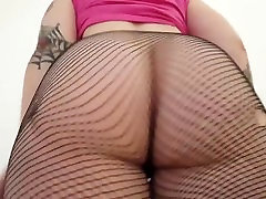 Pale goth chick shows her big butt in wasmo small stockings.