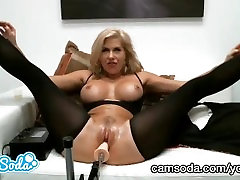 big tit latina step mom trying to squirt while fuckbot bangs her