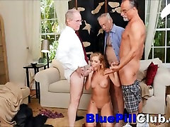 Nasty Teenager Babe Raylin Ann Gangbanged By Three Old Dudes
