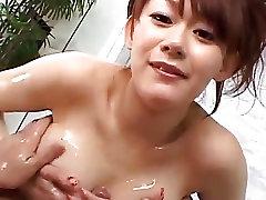 Soapy sex in the bath along busty Rina Wakamiya