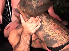 Strapped two hot babes getting pissed bear barebacked in duo