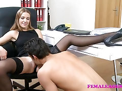 FemaleAgent muscle gay fuck sissy stud cums on sexy blonde face