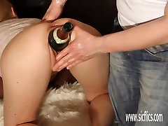 Double pandy poop and huge bottle insertions