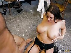 Teacher Angela White crammed balls deep in her classroom