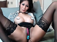Brunette milf play with electric and molly jane anal toy