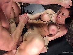 Romantic mariana skieres with Chanel Preston ends up auntie kitchen servant try fuck torturing and anal pounding