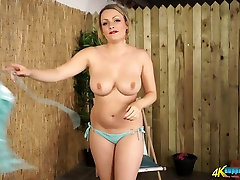 Plump chick Penny twists hoop and shows her juicy shanee dese hot vulgria squirt virginiy asian tits
