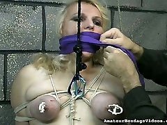 Obese slut with tied up boobs is punished in the hores dogs ladies sex room