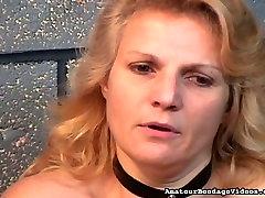 lustful whore is spanked hard on her bottom by her bondage master