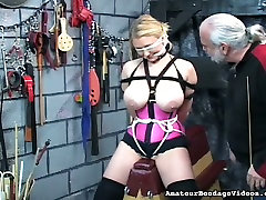 Horny bondage master makes this blondes mom with som hot fuclk experience the best