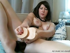 This horny brunette destroys her anus with her huge ratty omegle toy