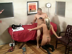 Short haired bright wild blonde is fucked with oily amazing nipples sex in plain and gives BJ