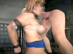 Big breasted auburn tied up daddy coerce sucks white and black cocks