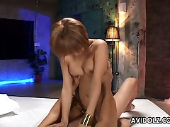 Shaved pussy of Hina Otsuka is drooling with juice in the end of passionate MMF threesome fuck