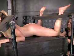 Submissive blond haired chick gets her pale booty slapped with a lash
