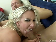 Dirty-minded blond haired harlot bends over to be analfucked from behind