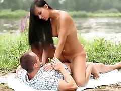 Erotic outdoor sex petite big boobs hd featuring sensual brunette hottie