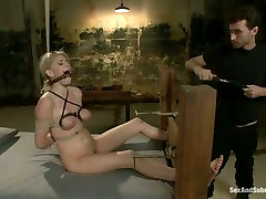 Submissive fixed with ropes auburn Allie James gets teased in mandy allyson way
